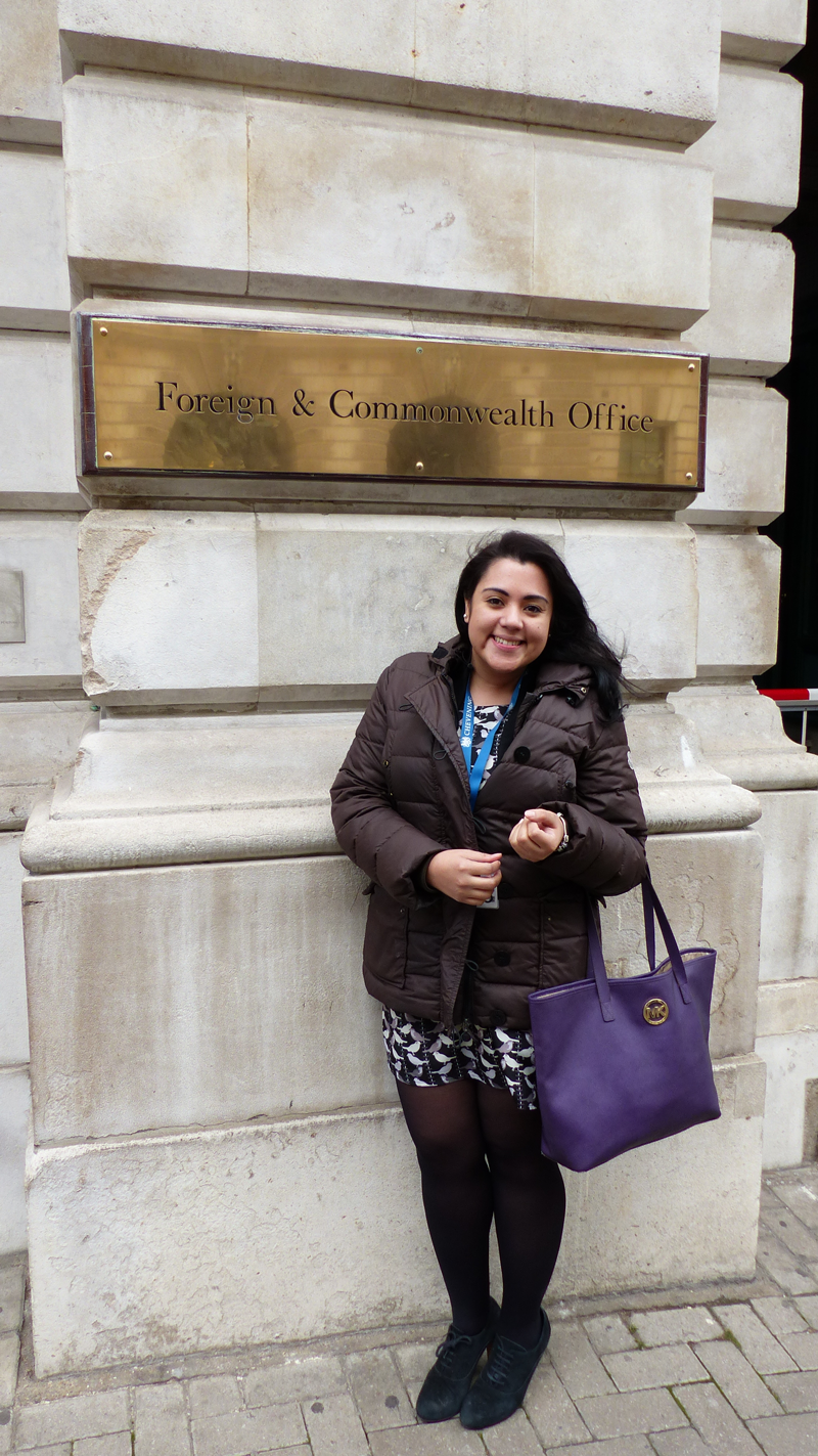 Maria Castillo Vallecillo outside the Foreign and Commonwealth Office in London