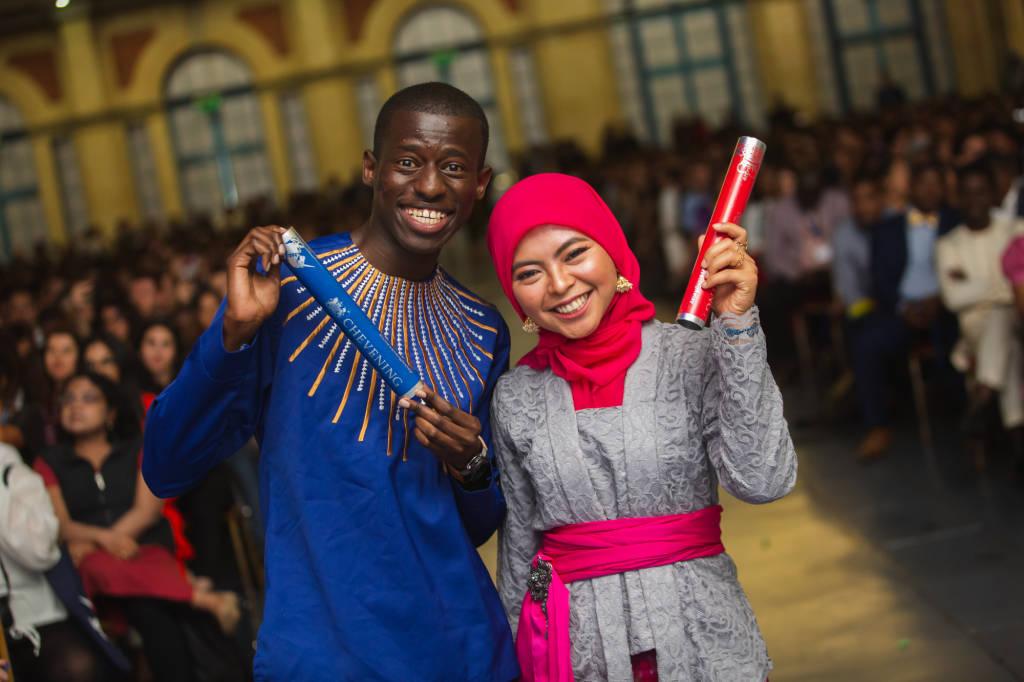 Brian Osweta and Kirana Agustina with the Chevening Relay batons