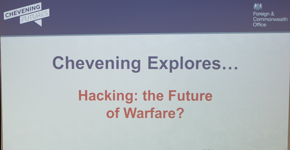 Kicking off the first #CheveningExplores lecture – 'Hacking: the Future of Warfare?'