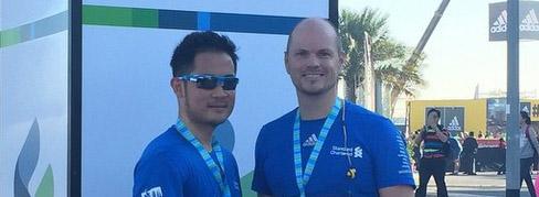 Visually impaired Chevening Alumnus runs the Standard Chartered Dubai Marathon