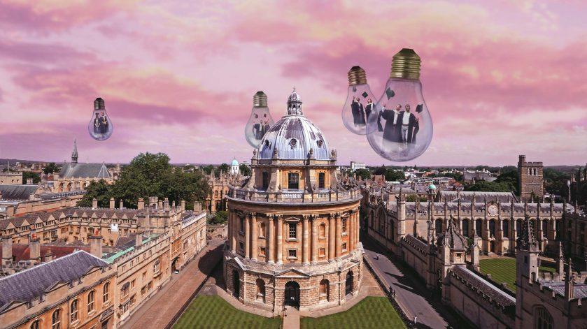 Scholars graduating over Oxford