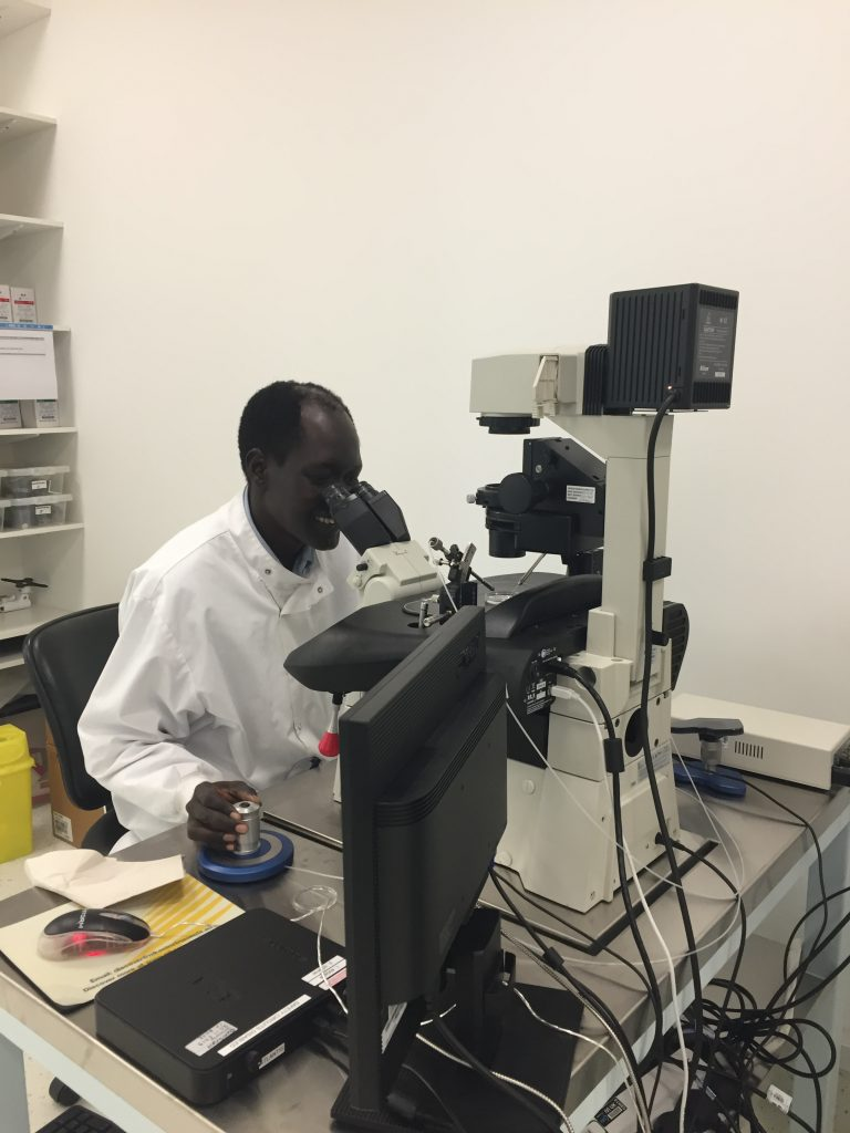 Dr Chuor in the laboratory