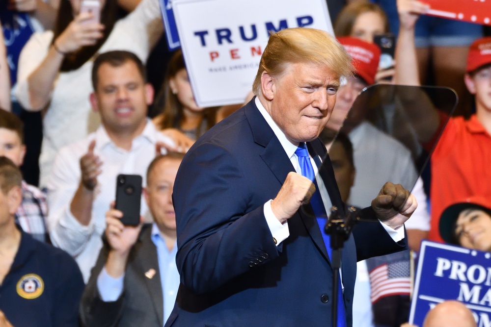 Donald Trump celebrating
