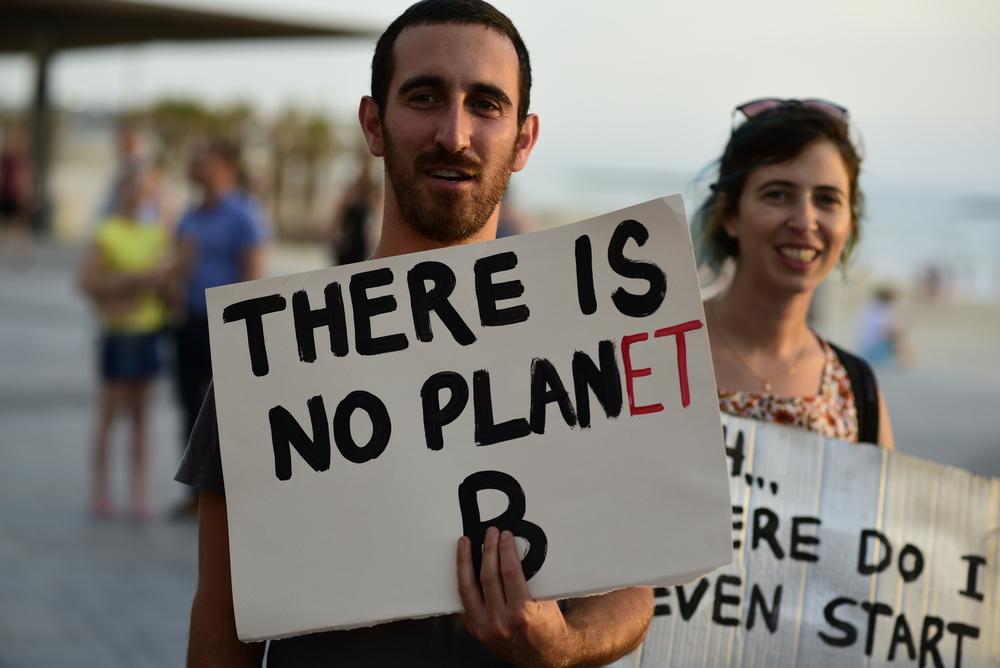 Climate campaigner in Tel Aviv