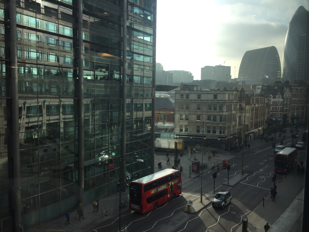 A bus travels through the City of London