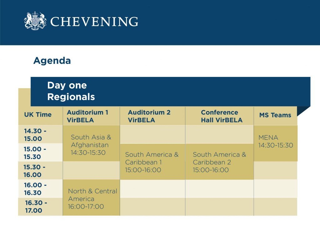 Regional schedule for Chevening Farewell V2
