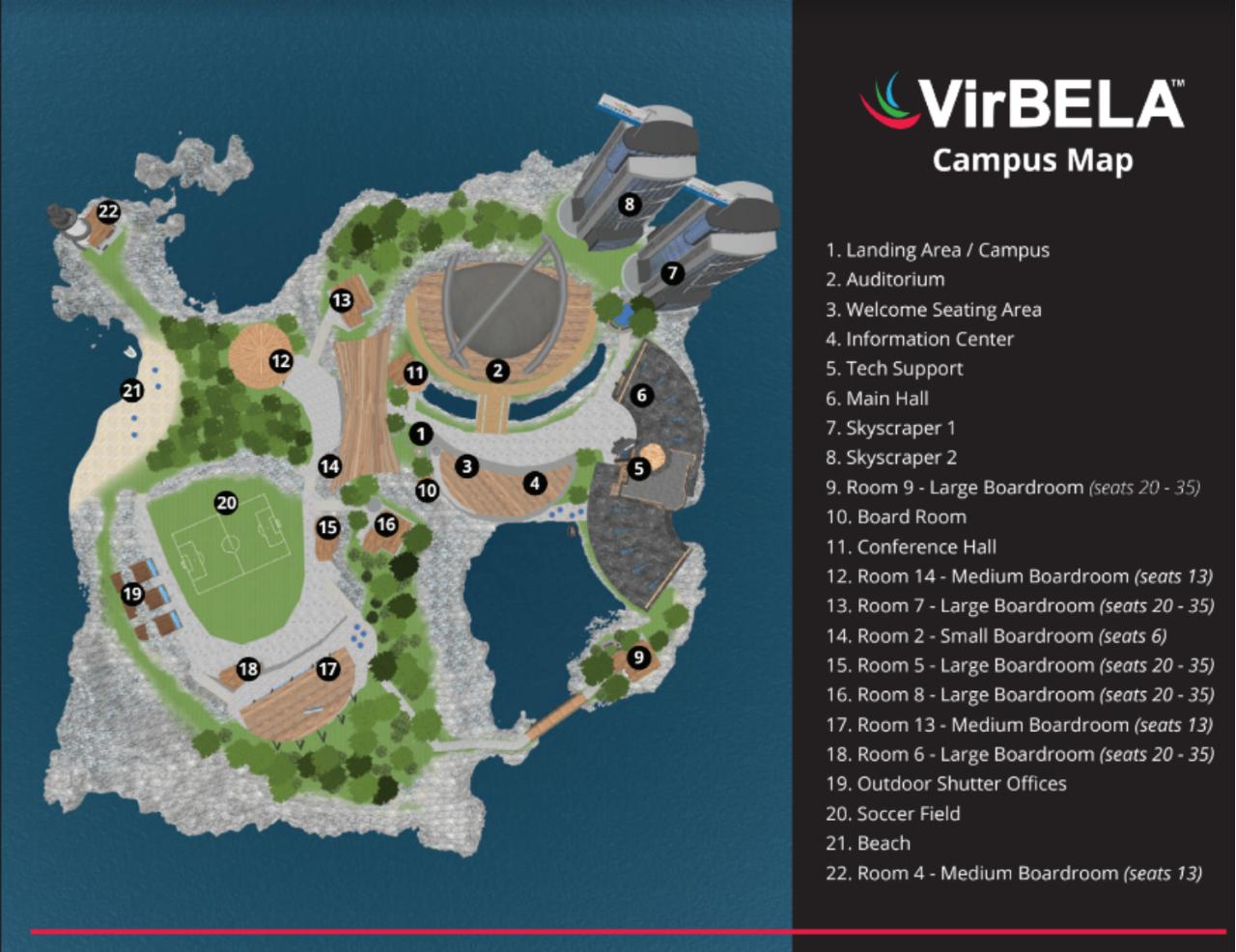 Virbela island map