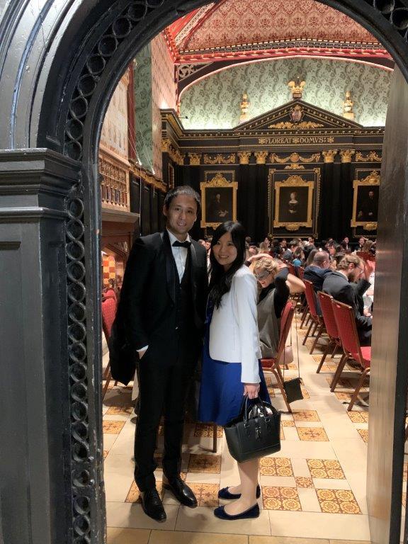 Takehito Kawakami with his partner at universityartner at
