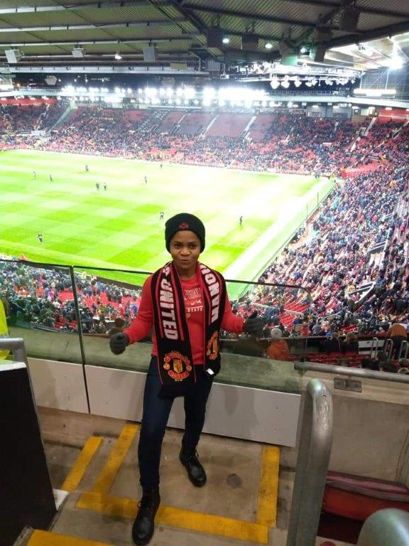Uduak Akpanedet at Old Trafford football stadium